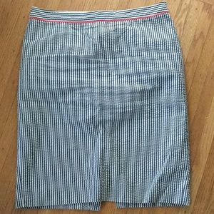 JCrew grey and white striped pencil skirt 10